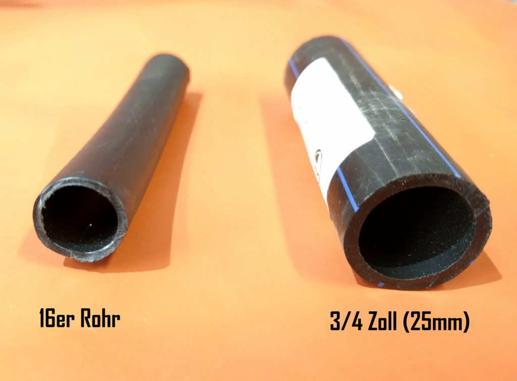 Rohrdurchmesser der Mikrobewässerung