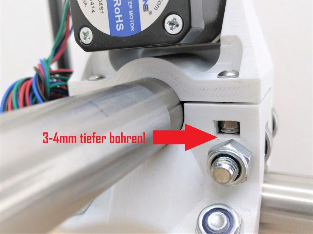 3-4mm tiefer bohren