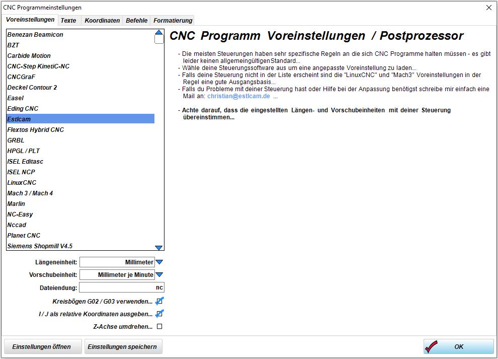 Programmeinstellung Estlcam